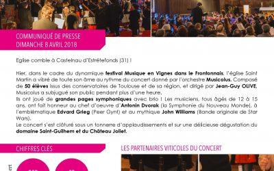 Le Festival «Musique en Vignes» débute dans les applaudissements du public
