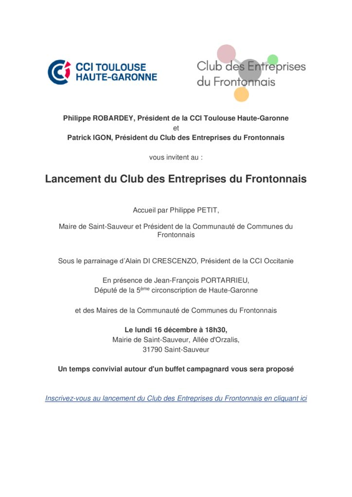 thumbnail of Invitation club frontonnais lien cliquable